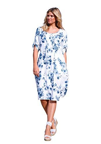 ANNA AURA Damen Abendkleid Kleid mit 3/4-Arm aus 100% Leinen Biesen