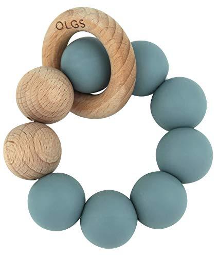 Beißring aus Silikon und Holz für Babys & Kleinkinder | Pastell Blau Greifling zum Zahnen Beißspielzeug | BPA-frei und einfach zu reinigen | Greifring (Ether)
