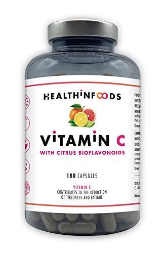 Healthinfoods | Vitamina C Pura con Frutas Cítricas y Bioflavonoides | Refuerza el Sistema Inmune y Reduce el Cansancio y la Fatiga | 1200 mg por dosis Diaria | Sin Aditivos | 180 Cápsulas Veganas