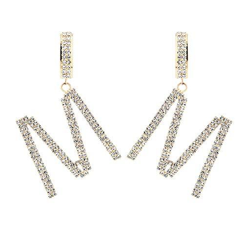 Orecchini pendenti a forma di lettera M, in cristallo, con iniziali e ciondoli, in oro, per donne e ragazze