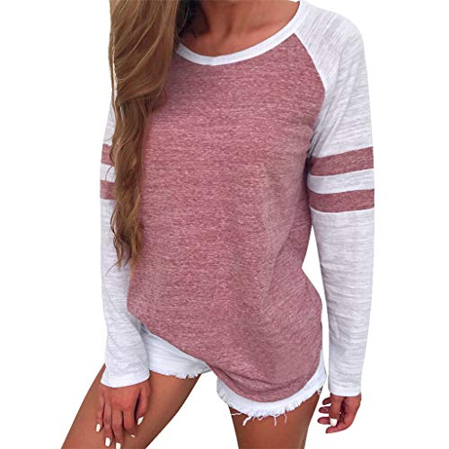 haoricu Women Blouse, Womens Stripe Crew Neck T Shirt Long Sleeve Solid Sweatshirt Pullover Tops (L, Pink)