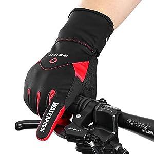INBIKE Guantes Calientes De Ciclismo De Invierno, Guantes De Pantalla Táctil para Hombre con Dedos Completos Cortavientos E Impermeable(Rojo,M)