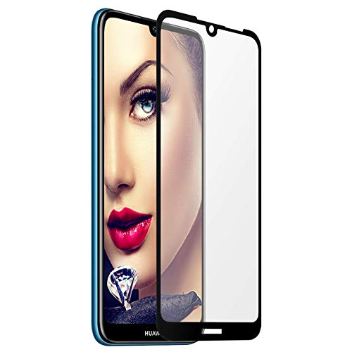 mtb more energy® Gerahmtes Premium Schutzglas für Huawei Y6S, Y6 (Pro) 2019, Honor 8A (6.09'') - Full Face - schwarz - Bildschirm Tempered Glas-Schutzfolie