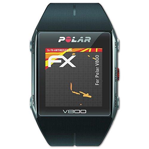 atFoliX Schutzfolie kompatibel mit Polar V800 Bildschirmschutzfolie, HD-Entspiegelung FX Folie (3X)