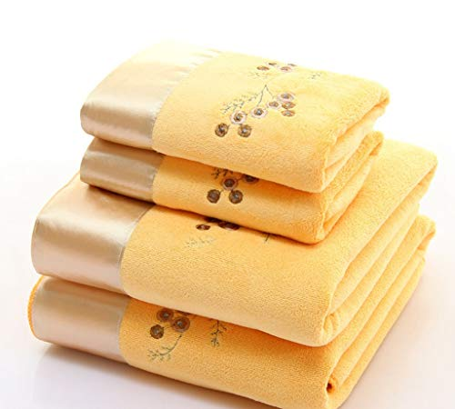 KMXHG Badetuch 2 Teile/Satz Mikrofaser Elegante Gestickte Handtuch Set Solide 1 stück Gesicht Handtuch und 1 stück Badetuch Schnell Trocknend Handtücher Bad für Erwachsene, 7