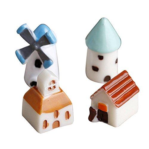 Gesh Juego de 4 molinos de viento de resina, castillo de iglesia, castillo, castillo, castillo, castillo de hadas, jardín en miniatura