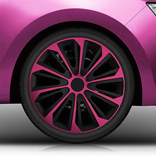 """Autoteppich Stylers Aktion Bundle 14 Zoll Radkappen/Radzierblenden 14\"""" Nr.006 (Farbe Schwarz-Pink), passend für Fast alle Fahrzeugtypen (universal)"""