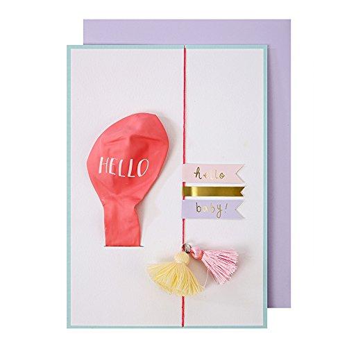 Carte ballon Hello Baby Rose - Meri Meri