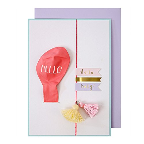 Carte ballon Hello Baby Rose - Meri Meri