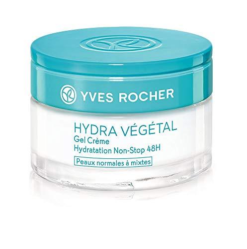 Yves Rocher HYDRA VÉGÉTAL Gel-Creme Non-Stop Feuchtigkeit 48h, Feuchtigkeitscreme für Tag & Nacht, 1 x Glas-Tiegel 50 ml