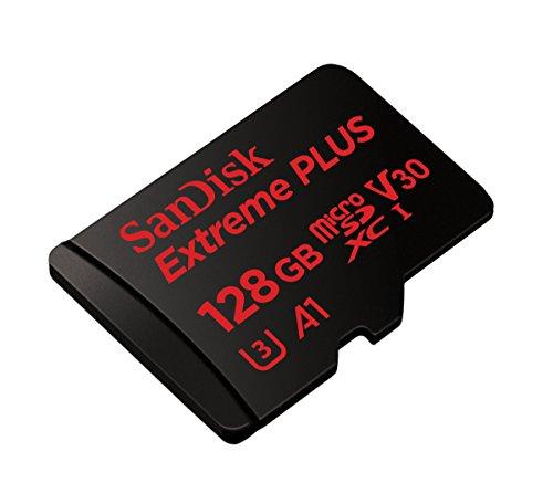 SanDisk Extreme PLUS 128 GB microSDXC Speicherkarte + SD-Adapter bis zu 100 MB/Sek, Schwarz, Class 10, U3, V30, A1
