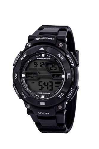 Konigswerk Mens 100M Waterproof Alarm LCD Dual Time Chronograph Black Band Military Sport Watch AQ202904G