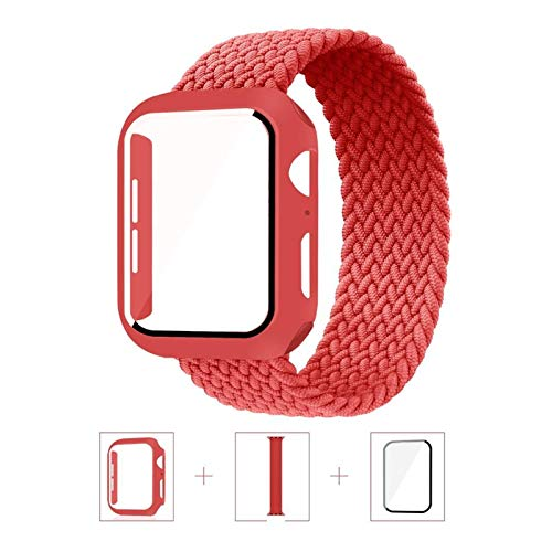 Caso + Correa Aplicar a Apple Watch Band 44mm 40mm 42mm 38mm Nylon Bella elástica Pulsera Iwatch Series 3 4 5 SE 6 Correa de Bucle Solitario Trenzado (Band Color : Red, Size : 44mm)