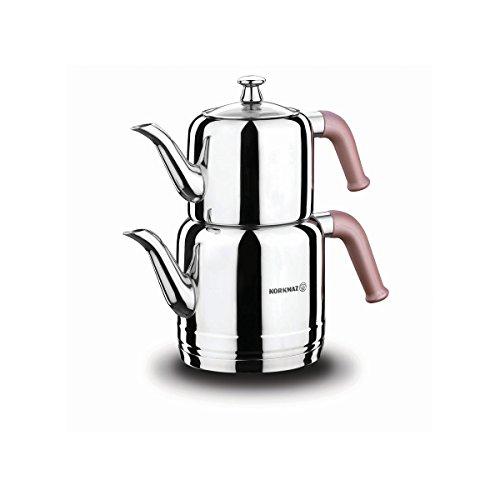 Korkmaz | Riva | Teekannen-Set | Teekessel | Teekocher | Wasserkocher | Samowar | Aus Edelstahl | 3 Liter | Induktionsgeeignet | Türkischer Tee | Schwarztee |