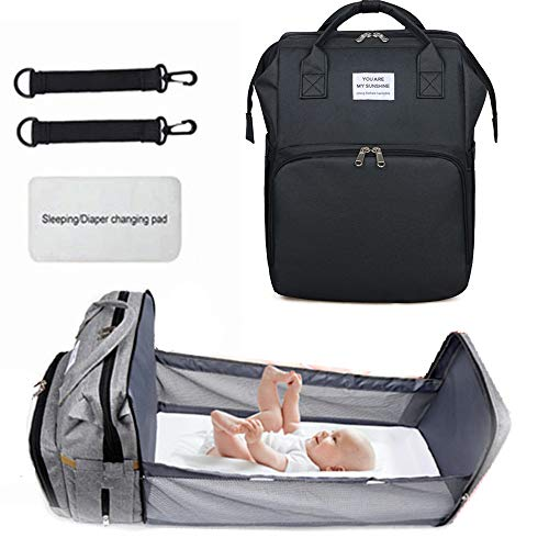 Portable Fodable Crib Diaper Bag Backpack, Waterproof Travel Bassinet Foldable Baby Bed, with Changing Station for Travel Bed Diaper Pad Stroller Organizer (Black)