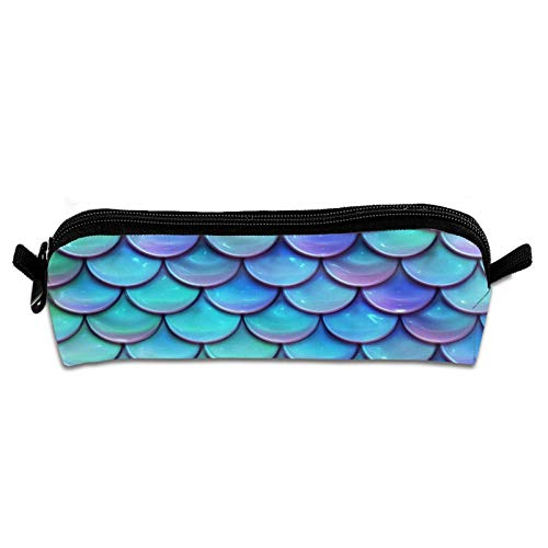 Maja Shop Canvas Pen Pouch Sparkling Mermaid Scales Pencil Case for Boys for School Cosmetic Bag for Purse