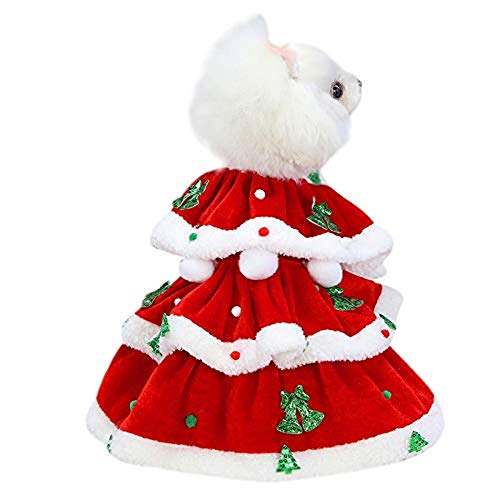 Cfxqvw Falda navidea para Perro, Falda roja para Perro, Falda de Pap Noel, nia, Disfraz de Mascota, Abrigo de Invierno con Capucha navidea, Mascota con Capucha