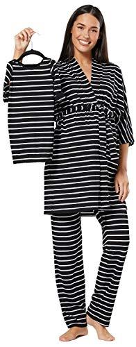 HAPPY MAMA Damen Mutterschaft Pyjama-Set Baby Mutter Passendes Set 181p (Schwarz & Schwarz mit Streifen, 38, M)