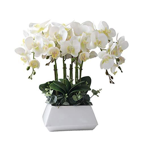Plantes Fleurs artificielles Faux en céramique Pot, Faux Soie Blanche Phalaenopsis Bonsai Décoration for Table Maison Garden Party Centerpieces Décor