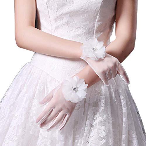 Gants de mariée mariage robes de soirée dentelle gants courts B07
