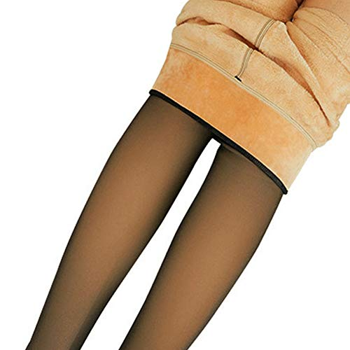 feeilty Frauen Beine gefälschte durchscheinende warme Fleece-Strumpfhose, Damen Mädchen weiche Gamaschen Fleece gefütterte dicke Gamaschen für den Winter im Freien