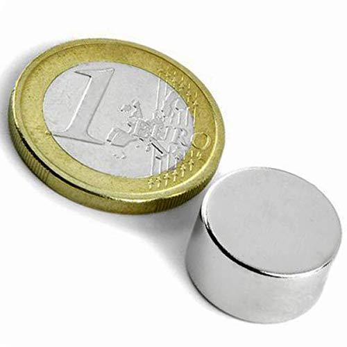 5 x Aimant rond Disque magnétique Ø 15 x 8mm Néodyme N42, Nickelé - Force d'adhérence: 7,2 kg - 5 pièces - Aimants ronds puissants, Disques magnétiques