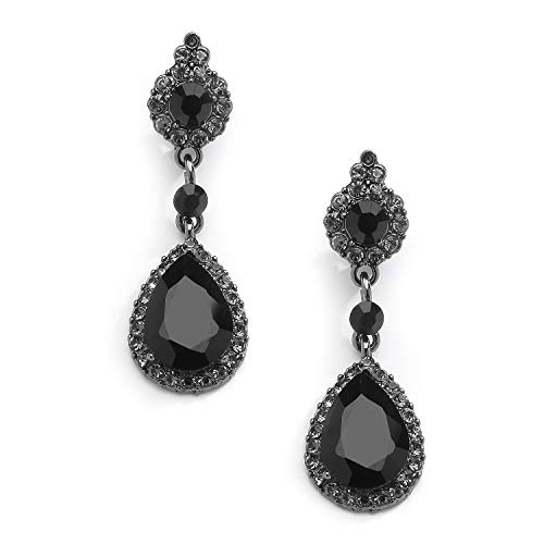 Mariell Jet Black Crystal Teardrop Dangle Earrings with Pave Frames - Ideal for Proms and Wedding Parties