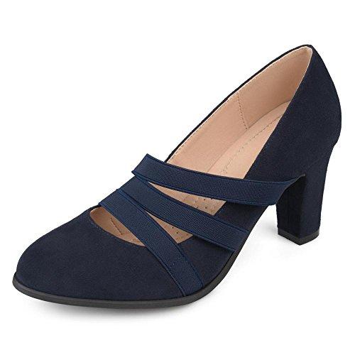 Brinley Co. Womens Levin Faux Suede Comfort Sole Chunky Heel Almond Toe Triple Elastic Strap Heels Navy, 9 Regular US