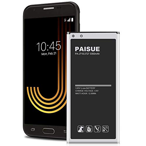 Galaxy J7 Battery, PAISUE 3350mAh J7 Replacement Battery for Samsung Galaxy J7 Prime J7 Perx J7 Sky Pro J710 J727 J727R4 J727T1 SM-J727T SM-J727 Phone (2017 Ver)