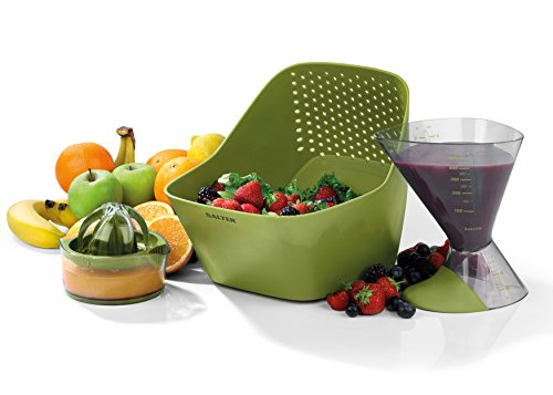 Salter BW05650 3 Piece Preperation Set with Colander, Juicer and Measuring Jug, Blue, 26 x 20 x 18 cm