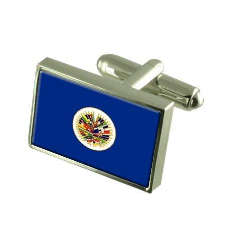 OEA (Organisation internationale) Boutons de manchette drapeau avec select pochette cadeaux