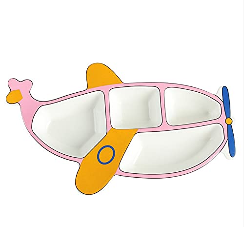 Plato de cena vajilla de dibujos animados placa de partición de cerámica excavadora de avión de dibujos animados plato de cena separado para bebé avión rosa 30 * 17.5 cm
