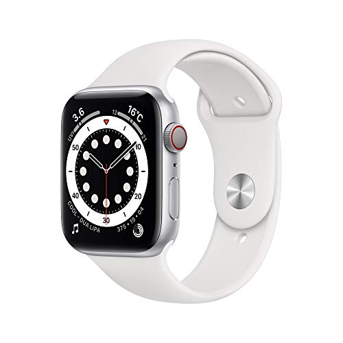 最新 AppleWatch Series 6(GPS + Cellularモデル)- 44mmシルバーアルミニウムケースとホワイトスポーツバンド