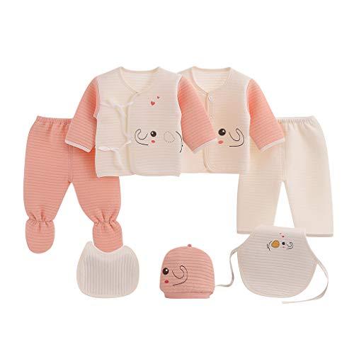 7PCS Baby Mädchen Junge Kleidung Set Cartoon T-Shirts Tops + Hut + Hose + Lätzchen + Bauchband Outfits Nachtwäsche Set, Rosa, 0-3 Monate