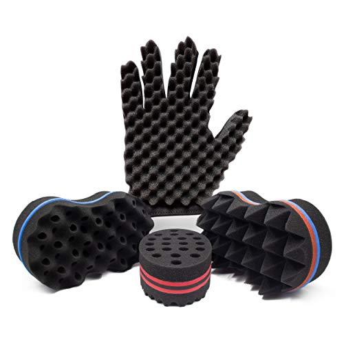 Hand Sponge for Hair,Curl Sponge Glove (Right) for Black Men and Women,Twist Sponge Kit for Dreadlock and Afro Hair,4 Big Dread Sponge for Natural Hair