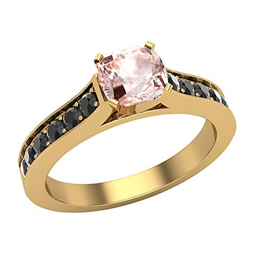 Glitz Design Mujer Niños Hombre Unisex oro 14 quilates (585) oro blanco redonda cushion-cut Pink Black Morganite