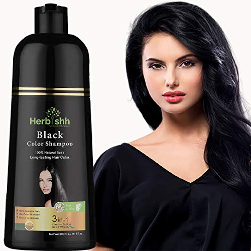 Herbishh Hair Color Shampoo for Gray Hair – Natural Hair Dye Shampoo – Colors Hair in Minutes – Lasts Up To 3-4 Weeks – 500 Ml – 3-In-1 Hair Color – Ammonia-Free | Herbishh (Black)
