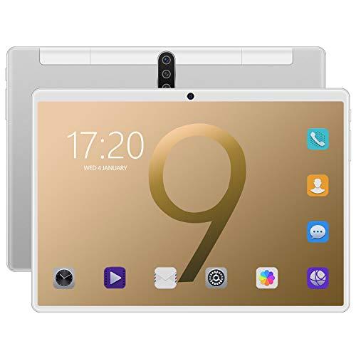 FJYDM Tableta De 10 Pulgadas 16GB ROM 1GB RAM 128GB Tableta Escalable, WiFi, GPS, Cámaras, Dual SIM, 720 * 1280 Pantalla De Alta Definición Computadora Inteligente,Plata