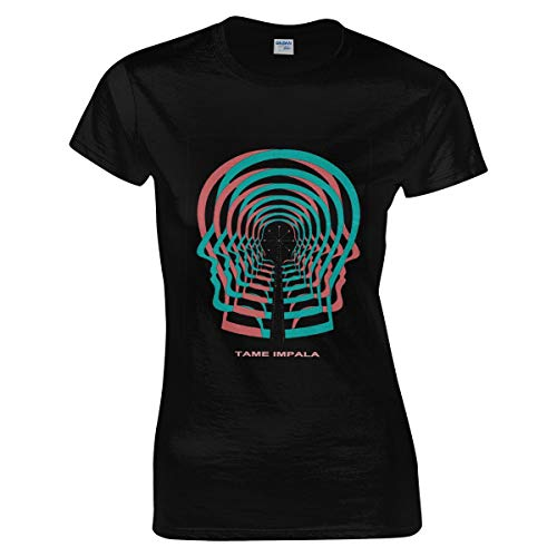 Damen Tame Impala Logo Tee Shirts Sommer Bekleidung T Shirt Kurzärmlig Rundhalsausschnitt Black S T-Shirt Für Frauen