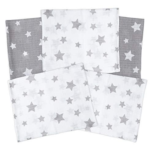 ByBoom - Mullwindeln - Stoffwindeln - Spucktücher - Bunt - 70x80 cm - 5er Pack, 100% Baumwolle; MADE IN EU, Farbe:Grau - Sterne