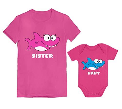 Big Sister Little Brother Sister Trajes de tubarão combinando presentes para irmãos, Sister Wow rosa / Baby Wow rosa, Sister S (3-4T) / Baby NB (0-3M)