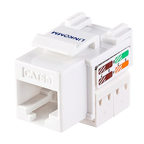 LINKOMM (10 Pack) RJ45 Cat5e Keystone Jack, White and Punch Down Cable Stripper