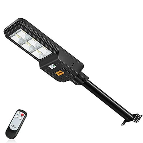 Kingwei 300W Lampione Solare LED Esterno con Pannello Solare, 6500K Luce Fredda, Faro Lampione Stradale Solare con Crepuscolare e Sensore di movimento radar, 396LEDs, Telecomando, IP65 Impermeabile