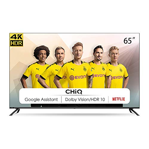 CHiQ U65H7S, 65 Zoll (165 cm), Android 9.0, Smart TV, UHD, 4K, WiFi, Bluetooth, Google Play Store, Google Assistant, Chromecast Bulit-in, Netflix, Video, Triple Tunnel, Hdmi, USB