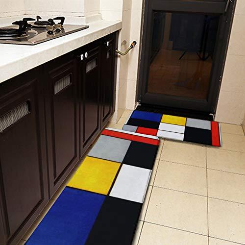 Lot de 2 tapis de cuisine et tapis de cuisine, style Pient Mondrian Fauvism hollandais, tapis de cuisine antidérapant, doux et absorbant pour cuisine, sol, salle de bain, évier, buanderie, bureau