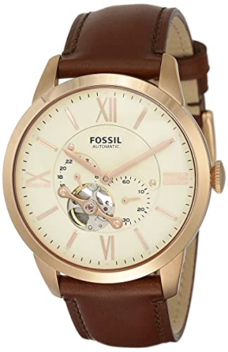 Fossil Men's Townsman Auto Automatic Leather Multifunction Watch, Color: Rose Gold, Brown (Model: ME3105)