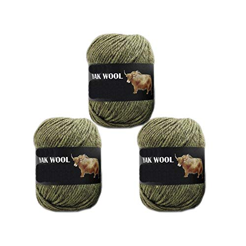 3 Balls Thick Yak Wool Yarn Soft Cashmere Thread Knitting Worsted Blended Crochet Yarn for DIY Sweater Scarf Gloves Yarn 300g (Withered Green)