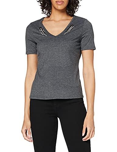 Morgan Tshirt Col V Encollure Plumes Bijou Doudou Camiseta, Gris Medio, TS para Mujer