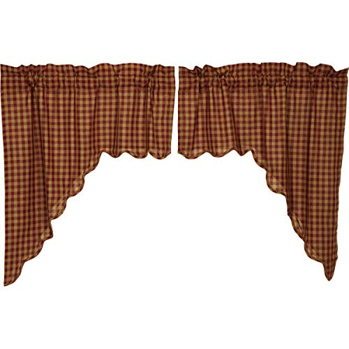 VHC Brands Burgundy Check Scalloped Swag Set of 2 36x36x16 Country Curtains, Burgundy and Tan
