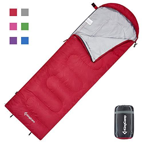 KingCamp Oasis Deckenschlafsäcke mit Kopfteil für Erwachsenen Leichtgewicht 3 Jahreszeiten, Rot, 220 × 75 cm